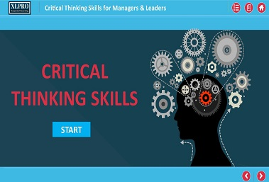 Critical thinking skills elearning module home screen with vector graphic of human head and gearwheels in it