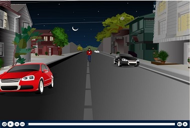 Man walking on a street at night with two cars parked