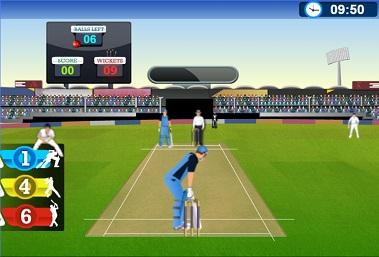 Batsman at crease of a cricket themed elearing gamification module