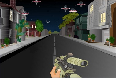 Alien spaceships in a gamified elearning module