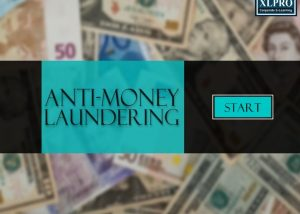 Antimoney laundering elearning module home page with currency and startu button