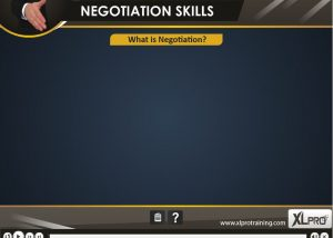 Negotiation skills elearning module screen with title