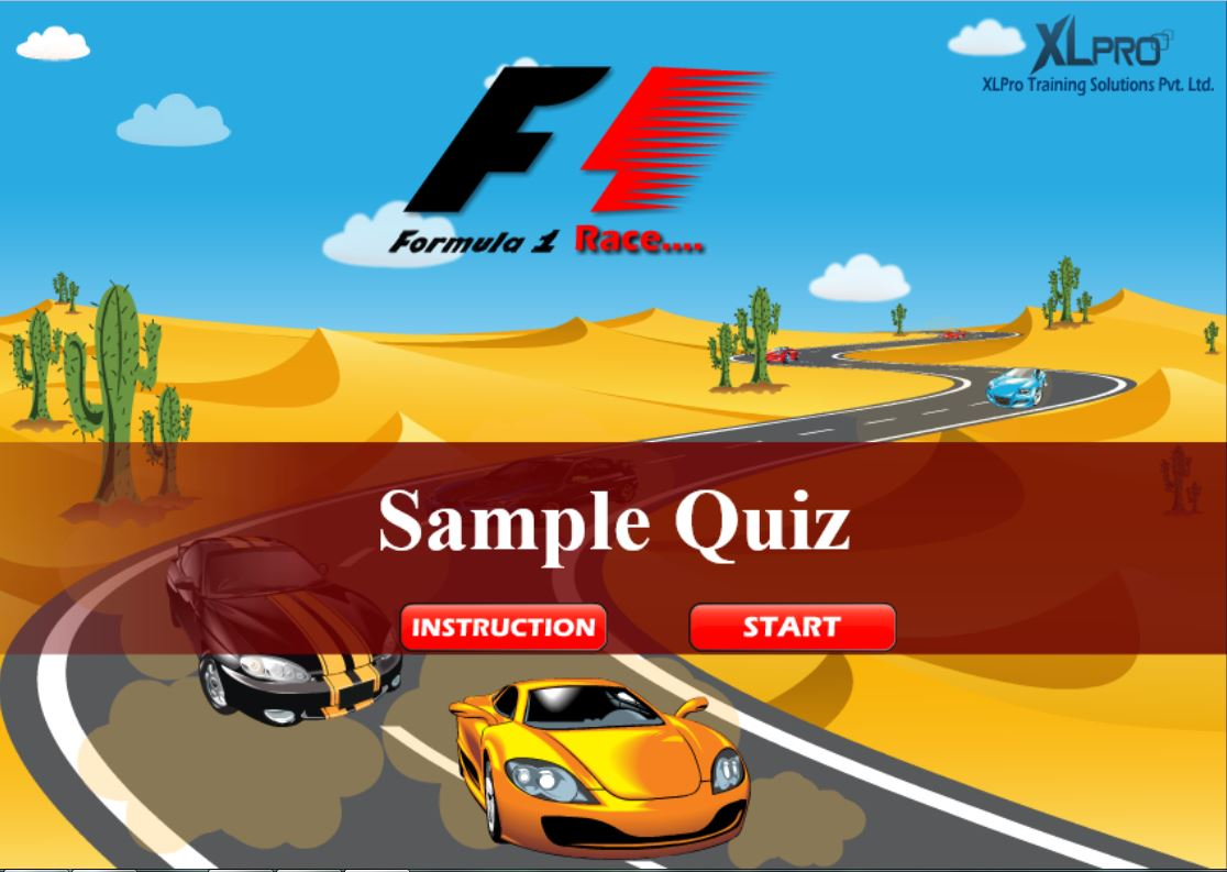 Car race elearning game with start button