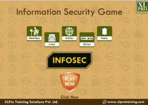 Information security elearning game with start button