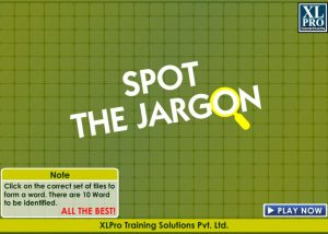 Spot the jargon elearning game home screen