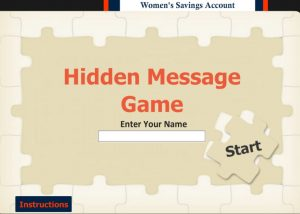 Hidden message elearning game textbox to enter name