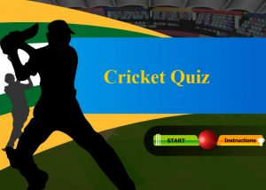 Cricket themed quiz with batsman and start button
