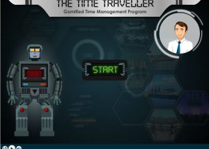 Gamified time management elearning with robot and talking head