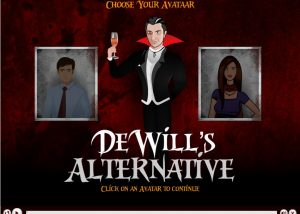 Hope page of Devill's alternative gamified e-learning with a male and female vector image to choose avatar