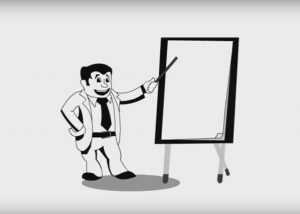 Vector of a man in suit pointing at a whiteboard