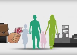 Vector animation of currency in hand and silhoutte of a family depicting insurance