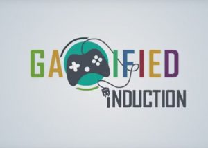 Gamified induction animated typography with m shown as gaming console
