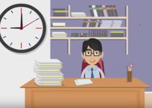 Vector of man at desk and clock behind him