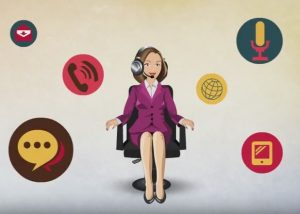 Vector animation of female executive on chair and icons of work around her