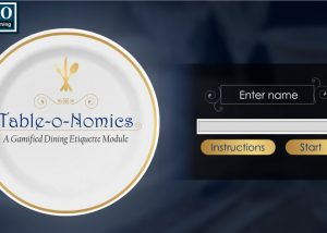 Dining etiquette elearning gamification module home page with plate and start button