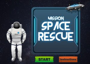 Mission space rescue gamified elearning module home screen with astranaout and start button