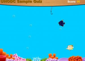 Elearning game with fish and hook home screen