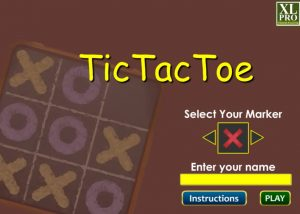 Tic tac toe themes elearning game screen