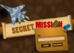 Air craft war themed elearning game with start button