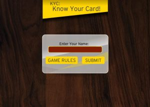 Know your card elearning game textbox to enter name