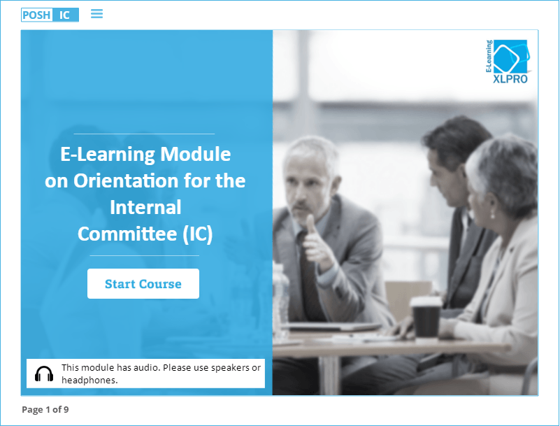 Prevention of Sexual Harassment elearning module for Internal committee sample home screen
