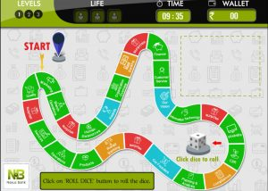 Monopoly themed gamified elearning module home screen