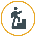 Vector icon of man climbing stairs