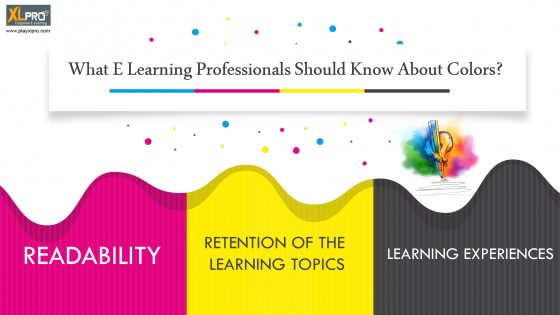 Color dots and strip showing what elearning pofessionals should know about colors