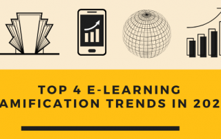 Image depciting four incons related to e-learning gamification trends